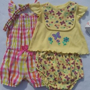 Other - 2 Girls Summer Sets - Top & Shorts 6/9 Months